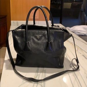 Prada twin pocket tote cervo leather